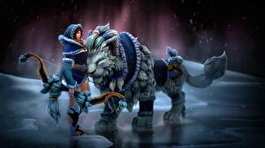 Pictures Magical animals DOTA 2 Mirana Archers Games Girls Fantasy