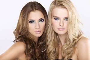 Images Makeup Brown haired Blonde girl Two Staring Hair Beautiful Girls