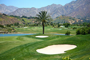 Hintergrundbilder Gebirge Felder Golf Palmen Natur
