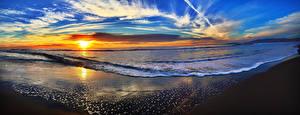 Images Scenery Coast Sunrise and sunset Waves Sky Clouds Sun Horizon Nature