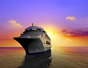 Fotos Schiffe Kreuzfahrtschiff Meer Sonnenaufgänge und Sonnenuntergänge Himmel