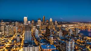 Hintergrundbilder Wolkenkratzer Haus Vereinigte Staaten Seattle Megalopolis Nacht