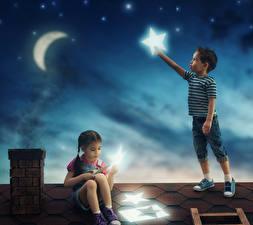 Hintergrundbilder Stern Mondsichel Junge Kleine Mädchen Nacht Zwei Dach Mond Kinder
