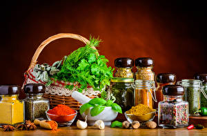 Picture Still-life Seasoning Vegetables Garlic Wicker basket Jar Food