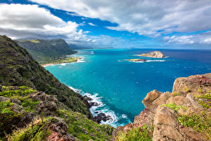 Photo Tropics Scenery Coast Sky Ocean USA Hawaii Clouds Cliff Nature
