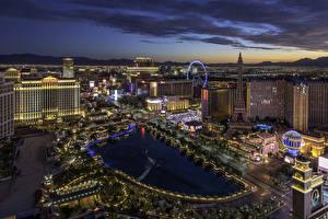 Bilder USA Gebäude Abend Las Vegas Von oben