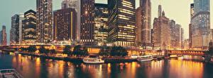 Bilder USA Gebäude Wolkenkratzer Abend Brücke Bootssteg Motorboot Chicago Stadt Bucht Städte