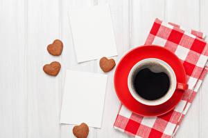 Sfondi desktop Festa di san Valentino Caffè Biscotti Tavole Tazza Cuore alimento