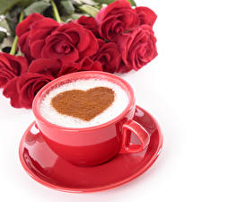 Picture Valentine's Day Coffee Roses White background Cup Heart Red Saucer Food