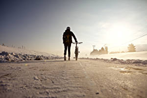 Fotos Winter Fahrrad Schnee Natur