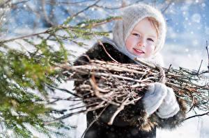 Pictures Winter Little girls Branches Staring Children