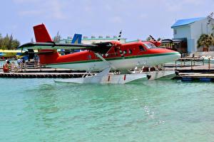 Fotos Flugzeuge Bootssteg Wasser Wasserflugzeug