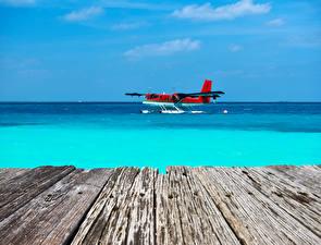 Bilder Flugzeuge Meer Bretter Wasserflugzeug Luftfahrt