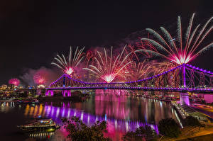 Wallpapers Australia Houses Rivers Bridge Fireworks Brisbane Night time Cities