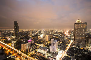 Bureaubladachtergronden Bangkok Thailand Huizen Nacht Metropool een stad