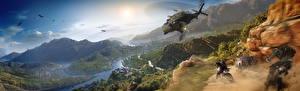 Hintergrundbilder Schlacht Hubschrauber Berg Tom Clancy Schuss Motorradfahrer Ghost Recon Wildlands Spiele