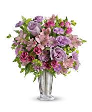 Images Bouquets Rose Chrysanths Alstroemeria White background Vase flower
