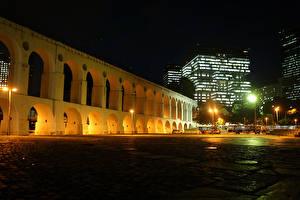 Wallpapers Brazil Houses Rio de Janeiro Night time Street lights Arch Cities
