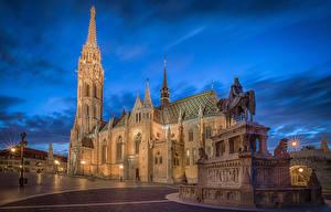 Bilder Budapest Ungarn Tempel Kirchengebäude Denkmal Abend Straßenlaterne