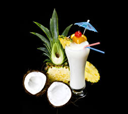 Wallpaper Mixed drink Coconuts Pineapples Black background Highball glass Umbrella Food