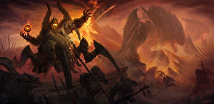 Photo Diablo III Magic Supernatural beings Battles Warrior Azmodan vdeo game Fantasy