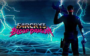 Wallpaper Far Cry 3 Warriors Man Assault rifle Lightning bolts Blood Dragon vdeo game
