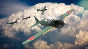 Bilder Flugzeuge Jagdflugzeug Flug Wolke Japanischer Mitsubishi A6M5 Zero computerspiel Luftfahrt