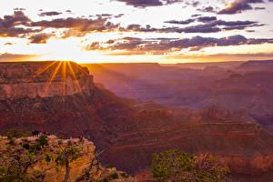 Hintergrundbilder Grand Canyon Park USA Parks Berg Sonnenaufgänge und Sonnenuntergänge Himmel Wolke Lichtstrahl