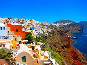 Fotos Griechenland Haus Küste Santorin Felsen Städte