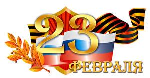 Hintergrundbilder Feiertage Tag des Verteidigers des Vaterlandes Weißer hintergrund Russische Flagge Band