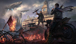 Wallpaper Homefront Man Assault rifle Motorcyclist The Revolution vdeo game