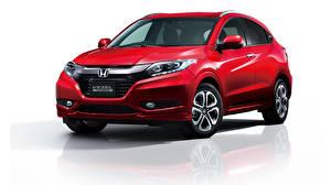Photo Honda Red White background Hybrid vehicle Vezel 2014 Hybrid auto