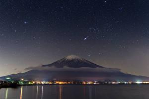 Fotos Japan Himmel Stern Fuji Vulkan Nacht Vulkan Natur