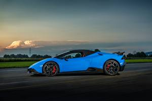 Pictures Lamborghini Light Blue Side 2017 O.CT Tuning Huracan 800 Supercharged Spyder Cars