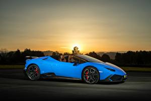 Picture Lamborghini Light Blue Side 2017 O.CT Tuning Huracan 800 Supercharged Spyder automobile