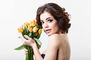 Fonds d'écran Journée internationale des femmes Tulipes Fond blanc Aux cheveux bruns Voir Filles