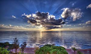 Images Monaco Scenery Coast Sea Sky Evening HDR Clouds Horizon Nature