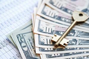Bilder Geld Dollars Banknoten Hautnah Schlüssel
