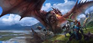 Bureaubladachtergronden Monster Hunter Een draak Veldslag Krijgers Vleugels videogames Fantasy