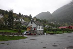 Fotos Norwegen Haus Straße Gebirge Bäume Geiranger Städte