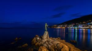 Wallpaper Opatija Croatia Sea Building Monuments Night time Cliff Street lights Cities