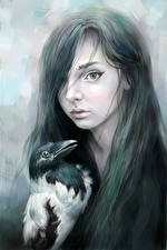 Bilder Gezeichnet Krähen Gotische Haar Mädchens