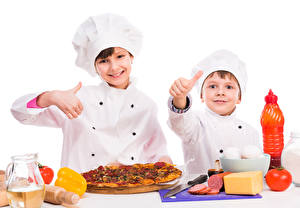 Picture Pizza Fingers White background Boys Two Cooks Children