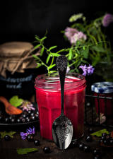Images Fruit preserves Berry Currant Jar Spoon Food