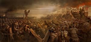 Wallpaper Rome: Total War Fighting Soldiers War Shield Spear Swords 2 Games