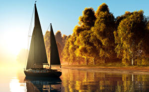 Picture Sailing Autumn Yacht Coast Trees 3D Graphics Nature