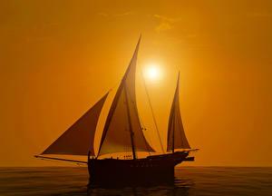 Fotos Segeln Sonnenaufgänge und Sonnenuntergänge Meer Schiff 3D-Grafik