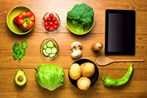 Pictures Still-life Vegetables Potato Bell pepper Tomatoes Tablet PC Boards Food