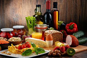 Pictures Still-life Wine Vegetables Bread Cheese Juice Strawberry Nuts Ham Bottles Egg Food