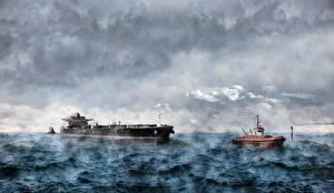 Photo Tanker (ship) Ships Sea Waves Clouds